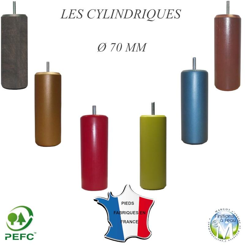Pied de lit cylindrique hauteur de 9 cm à 25 cm bois naturel