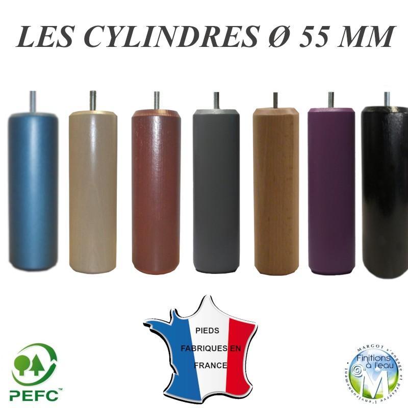 pied de lit cylindre bois naturel pour lit