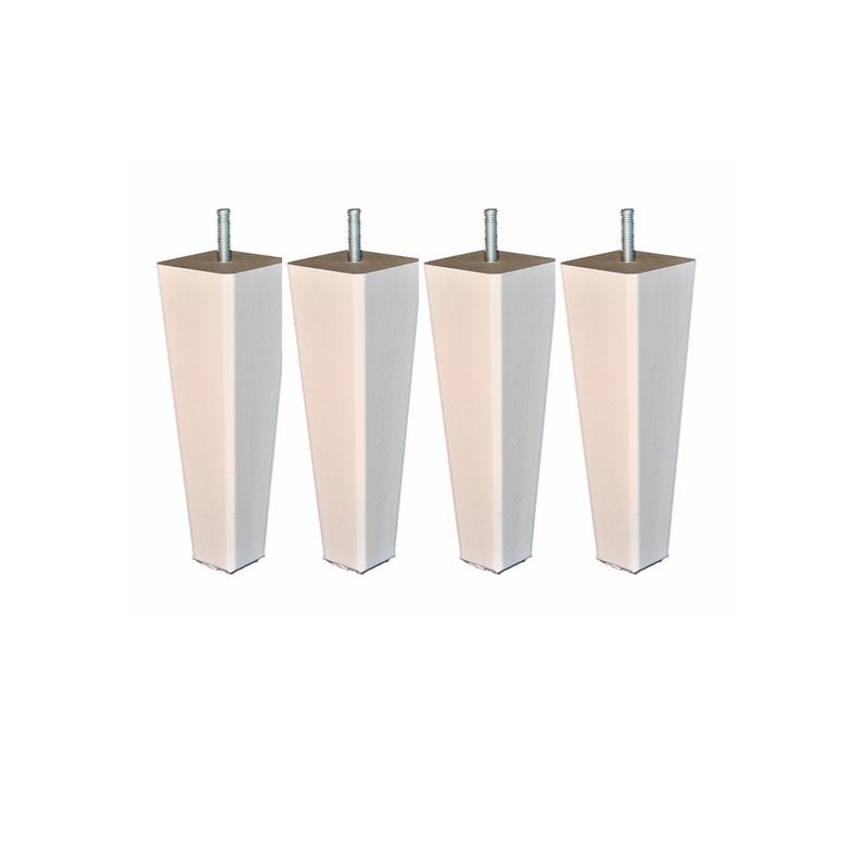 jeu de 4 pieds carré conique coloris blanc La boutique des proprios